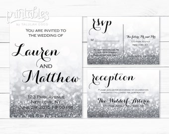 Silver Wedding Invites, Silver Glitter Wedding Invitation Template, Sparkle Wedding Invitation Printable, with RSVP Postcard, Reception Card