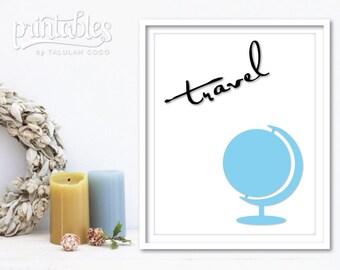 Travel Art Print, Printable Travel Poster, Minimalist Wall Art, Adventure Print, Modern Art, World Map Print, Blue Wall Decor, Travel Decor