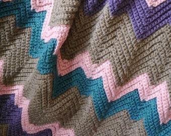 Crochet blanket, ripple crochet afghan, striped throw blanket, ripple blanket