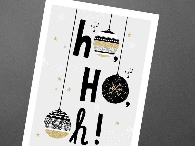 Weihnachtskarte Ho Ho Oh / Merry christmas, Postcard, Greeting Card ...