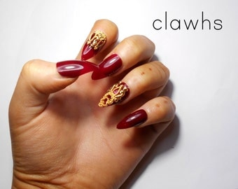 Wine Red and Gold 3D Stiletto Handpainted Full Set Press On False Nails Clawhs