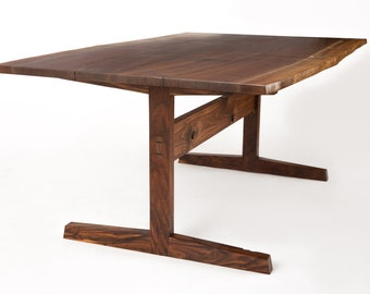 Live edge walnut trestle table // dining table // mid century modern