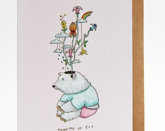 Sympathy card - Thinking of you - friendship card - 'Thinking Bear'