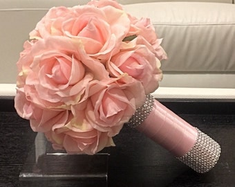 Blush Real Touch Rose Bouquet, Light Pink Bridal Bouquet, Blush Pink Bouquet, Real Touch Bridal Bouquet, True Touch Bouquet, Pale Pink
