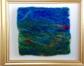 Felted wool abstract landscape painting, On the Water