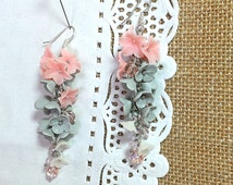 Earrings hanging from polymer clay Handcrafted Pink flowers Czech glass earrings for women gift for her