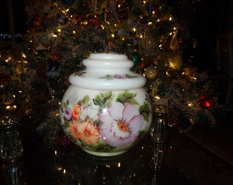 MILK GLASS COOKIE Jar with Lid