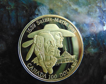 Beautiful 1989 Sainte-Marie Canadian Gold Proof Coin, 14k Gold Proof Coin, Gold Cameo Coin, Gold Coin