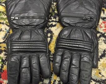 Vintage black leather biker gloves