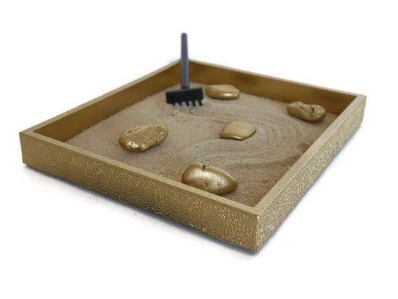 Gold Office Decor Mini Zen Garden Gold Office By Minizengarden