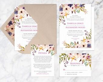 Printable Wedding Invitation Set, Fall Wedding Invites, Woodland Wedding Suite, DIY Wedding Invitations, Autumn Wedding Invite