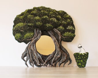 mirror old tree with roots hand painted plywood frame, frame size 23x23 inches, mirror diameter 7 inches