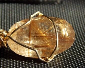 Rotiliitd quartz necklace,quartz Rotiliitd,one of a kind,large pendant,unique pendant,Rotiliitd necklace,Rotiliitd pendant,Gold pendant
