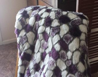Purple Faux Fur Throw