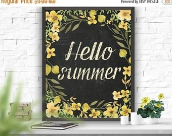 SALE Printable Art Hello Summer Typography Poster Home Decor Printable Art Chalkboard Design Summer Wall Decor Summer Art  Poster 8 x 10 16