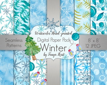 Winter Digital Paper Pack Christmas Seamless Patterns Frozen Watercolor Hand-Painted Digital Paper Scrapbooking Watercolor Paper