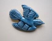 Poole Bluebird Brooch Rare Poole Pottery