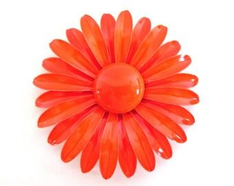 Vintage Orange Enamel Flower Power Pin Large MOD Daisy Brooch