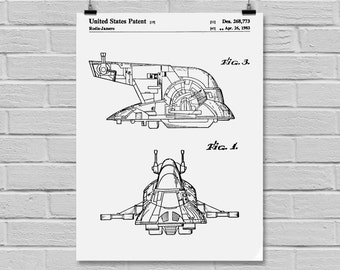 Star Wars patent, slave one Star Wars Poster, Star Wars Patent,Star Wars Print, slave one, slave one poster, Black and white, slave one art