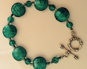 Blue/ teal beaded bracelet