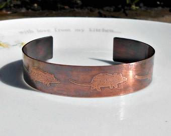 Mouse Bracelet, Mouse Jewelry, Copper Mouse Cuff, Copper Cuff Bracelet, Mouse Bangle,  Rodent Bracelet, Mice, Etched Mouse, Gifts for Her.