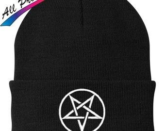 Wiccan Pentagram Embroidered Beanie Moon Pentacle Metal Band Music One Size Fits Most