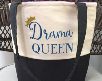 Drama Queen Tote Bag- Personalized Tote Bag - Theater Tote Bag - Custom Tote Bag - Drama Tote Bag - Handmade Tote Bag