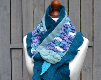 Nuno Felted scarf blue collar handmade felted scarves art