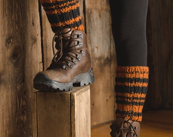 Knitted leg warmers orange black stripped gaiters woman teenager