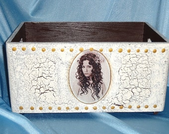 Wooden box chest shabby Virgin storage