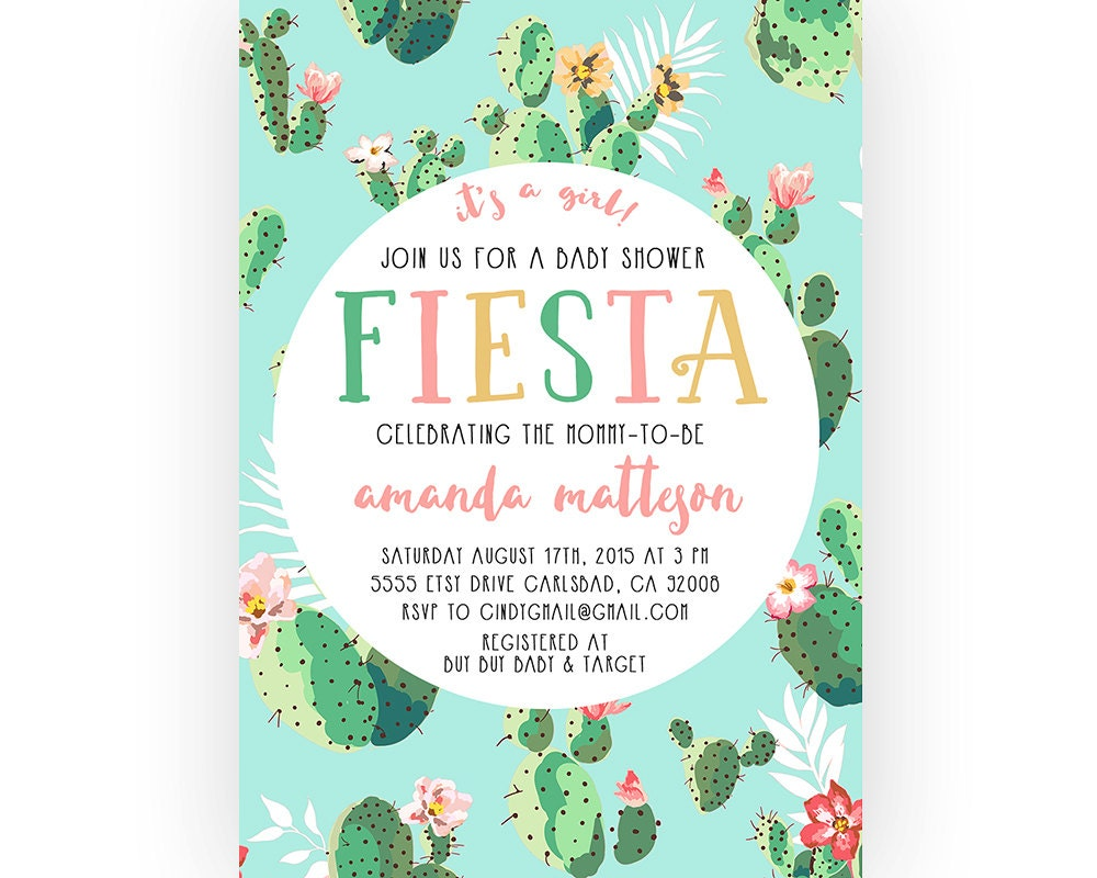 Fiesta baby shower invitation cactus boho printable invites - Fiesta baby shower ...