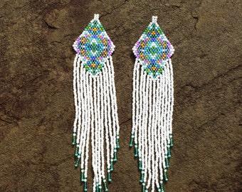 White Priestess Beaded Ceremonial Earrings