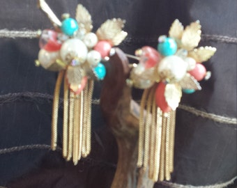 Vintage gold, pearl, rhinestone, turquoise,  coral brooch