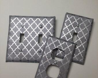 Grey, Gray Silver FOIL Print, Light switch covers,light switch plate,outlet covers,outlet plates,home decor, wall art