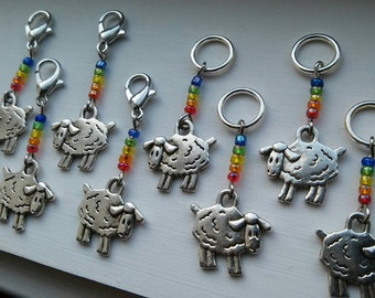 Double Rainbow - set of 8 sheep stitch markers knit or crochet