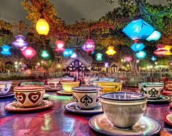 Disneyland's Mad Tea Party, Metallic Paper  / Metal Print
