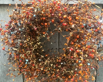Fall Wreath with Orange Mix Pip Berries, Rustic Fall Wreath, Primitive Wreath, Country Wreath, Halloween Wreath, Fall Decor, Free Shipping
