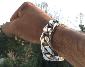 Mens .925 Sterling Silver Thick and Heavy Barbado chain link bracelet handmade.