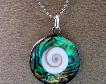 Pendant mother of Pearl abalone eye of Lucia