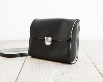 Leather bag, Crossbody bag, satchelbag in black