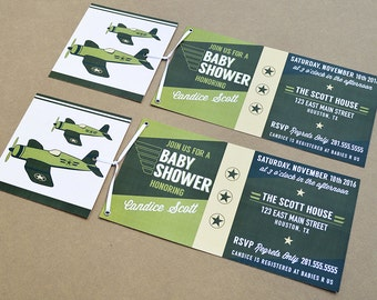 Planes Baby Shower Invitations - Set of 30 with Envelopes