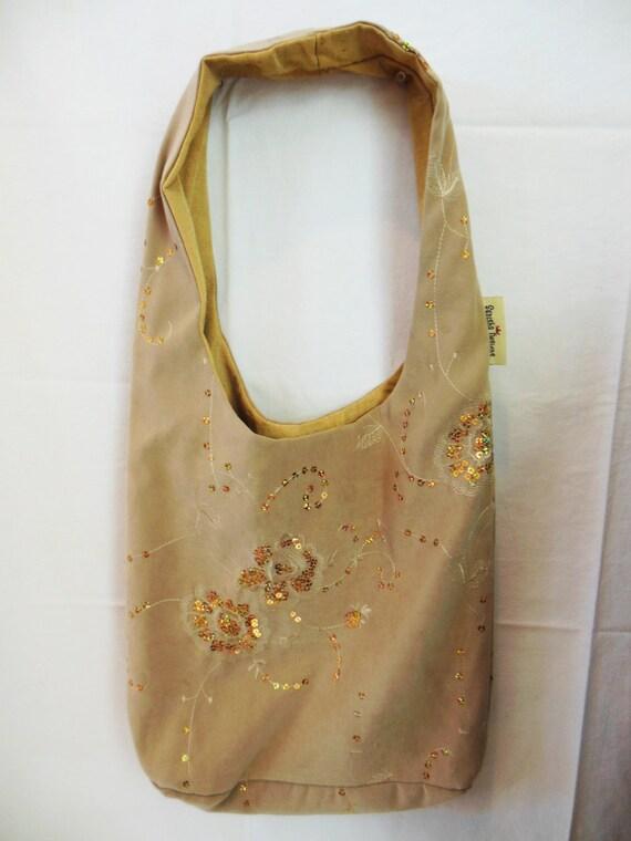 Casual Hobo Bag, Gold Sparkle