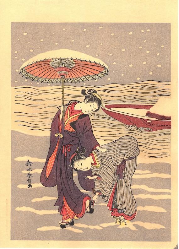 "Japanese Ukiyoe, Woodblock print, Harunobu, ""The Snow-Clogged Geta"""