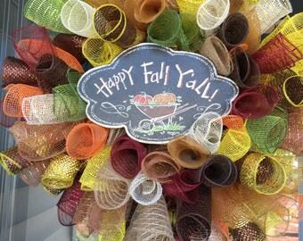 """Fall """"Happy Fall Y'all"""" Mesh Wreath"""