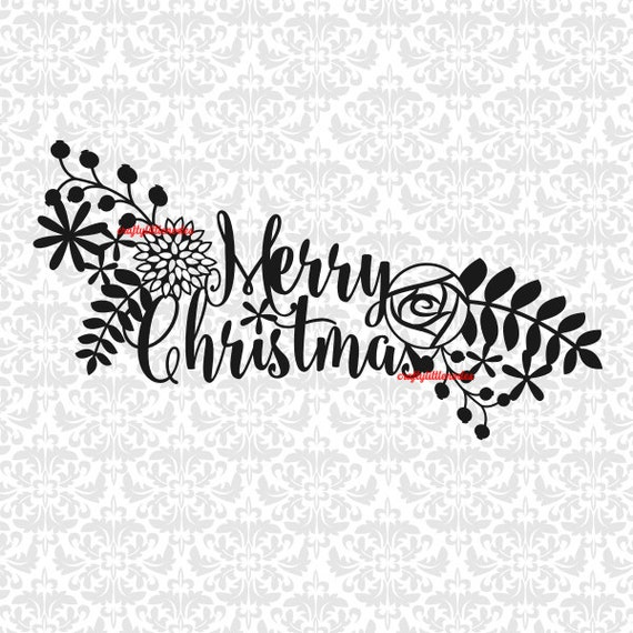 Merry Christmas Floral Cut Papercut - one piece SVG STUDIO Ai EPS scalable vector instant download commercial use cricut silhouette