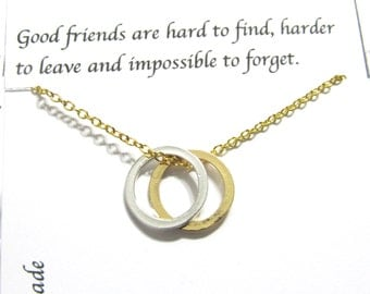 Karma necklace Best Friend Gift, Best Friend Necklace | Gold A5 | Twin Circle Necklace, Friendship Necklace, Gift For Friend, Birthday Gift