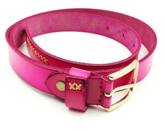 Gold buckle Cross pink Leather Belt
