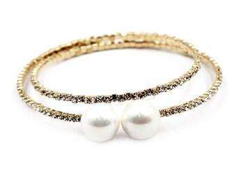 Fashion gold pearl crystal bracelet