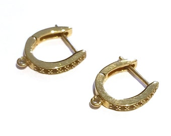 14K Solid Yellow Gold Leverback Earrings for 14 0.01CT stones