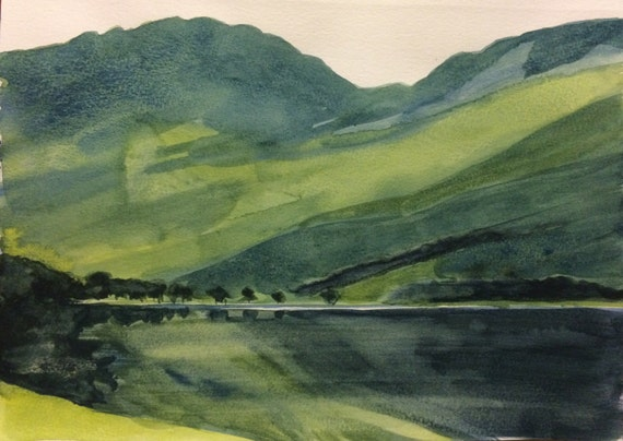 Lake District, Buttermere, Buttermere Lake, Haystacks, English landscape, Cumbria, England, mountain lake, Lakeland, watercolor landscape